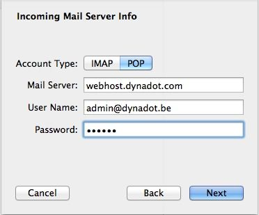 Mac Mail incoming POP server window set-up window