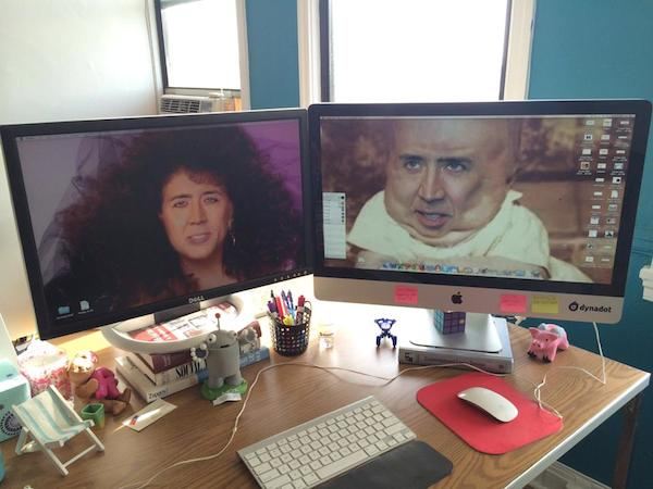 Monitors with pics of Nicholas Cage for prank