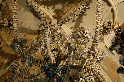 Sedlec Ossuary Church of Bones Chandelier - 13 Spooky Places to Visit