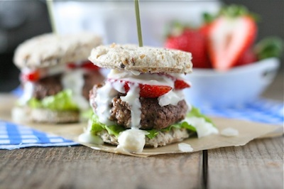 July 4th Recipes: Red, White, and Blue Sliders (Strawberry Sliders with Blue Cheese Sauce)
