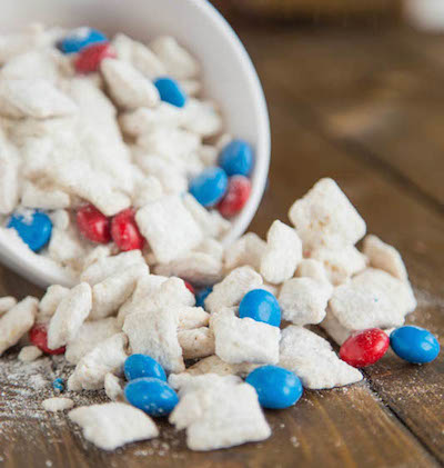 July 4th Recipes: Red, White, and Blue Cake Batter Muddy Buddies