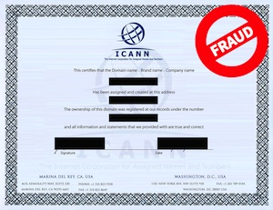 ICANN Fraudulent Domain Name Certificate Example