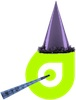 Dynadot logo with purple party hat and horn