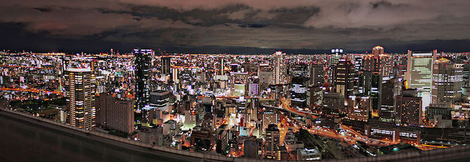 Introducing .OSAKA geoTLD : Register .OSAKA Domains : Osaka's Best Foods - Udema Sky Building Panorama