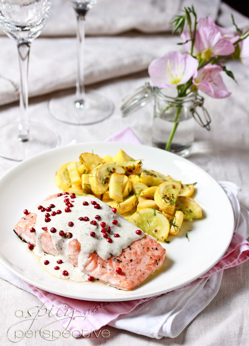 Colorful Food Recipes : .BLUE Domain Sale : .RED Domain Sale : .PINK Domain Sale : .BLACK Domain Sale - Roasted Salmon with Pink Peppercorn Sauce