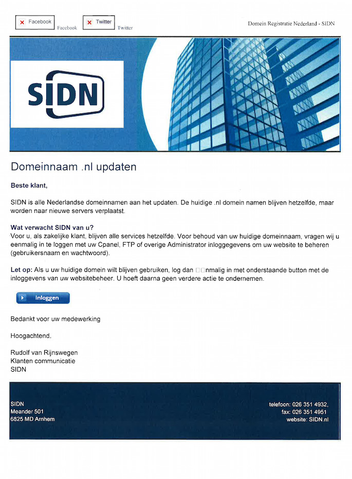 .NL Phishing Scam Email Sent out to SIDN Clients - Phishing Email Example