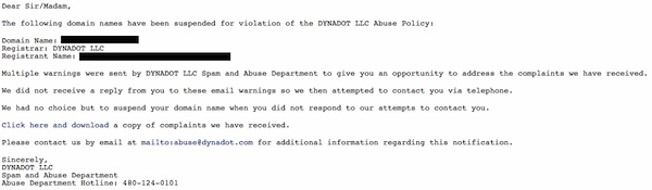 Fake Abuse Email Example for Dynadot Customers