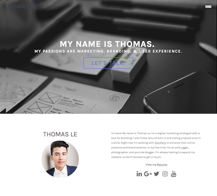 Resume One Page Website