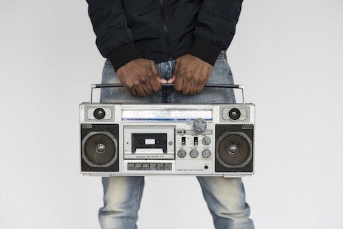 person holding radio