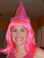 Author Robyn Norgan with pink wig and party hat