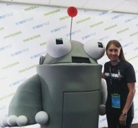Author Robyn Norgan with MOZ SEO mascot Roger