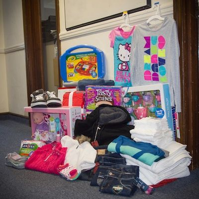 The products for Adopt-a-Family unpacked