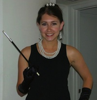 The author Robyn Norgan dressed up as Audrey Hepburn