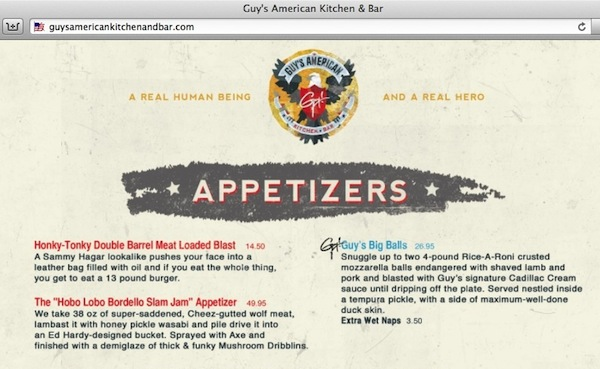 A prank homepage of Guy Fieri's restaurant