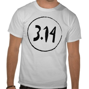A man dressed in a white t-shirt with 3.14 written on it - Front