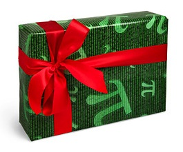 A present wrapped in pi wrapping paper