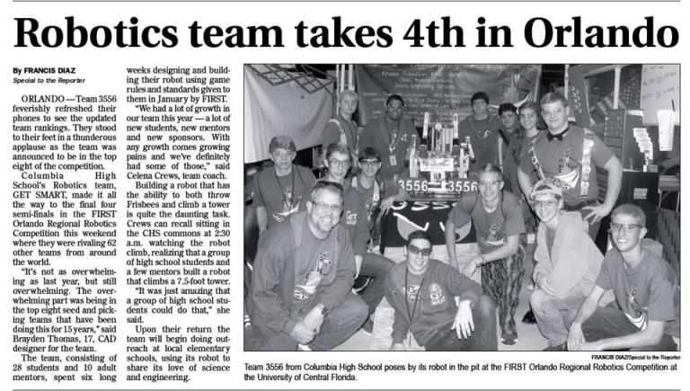 Newspaper clipping announcing Team 3556 taking 4th in Orlando