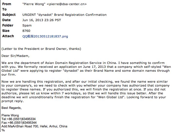 Chinese Domain Scam Email - Beware of Chinese Domain Scams