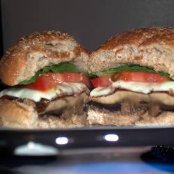 A portobello burger cut in half