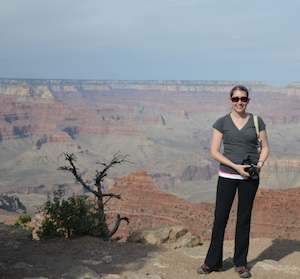 The author Robyn Norgan standing at the Grand Canyon