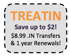 Coupon TREATIN for twp dollar discount of .IN transfers