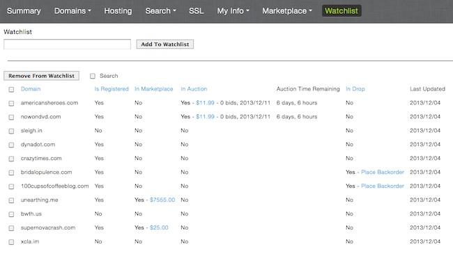 Domain Watch List - Dynadot